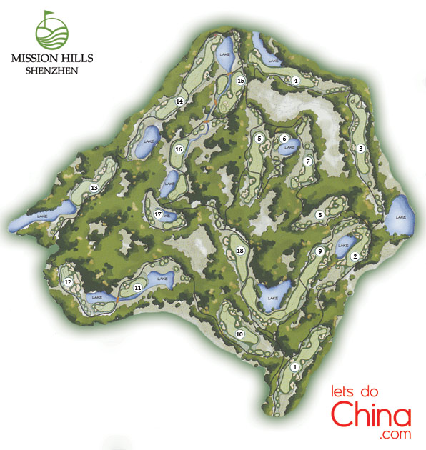 Ozaki Course Map at Mission Hills Shenzhen