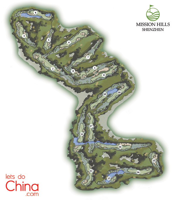World Cup Course Map at Mission Hills Shenzhen